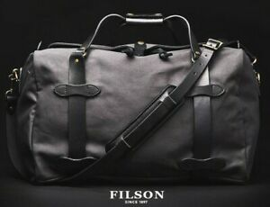 FILSON Medium Rugged Twill Duffel Duffel Bag Bridle Leather NEW Dark Cinder Grey
