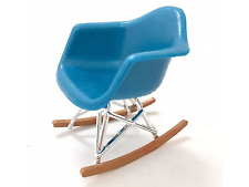 DOLLHOUSE MINIATURE - Modern Mid Century  Eames Rocker Chair  1:12  NEW! BLUE