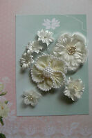 IVORY PEARL BURLAP All Fabric Organza Mixed 7 Flowers 25-65mm across GreenTara E