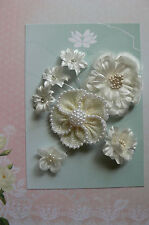 IVORY PEARL BURLAP All Fabric Organza Mixed 7 Flowers 25-65mm across GreenTara D