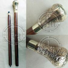 Antique Brass Designer Handle Wooden Walking Cane Stick Vintage Victorian
