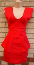 MISSGUIDED RED PEPLUM RUFFLE BANDAGE V FRONT BACK PARTY BODYCON PROM DRESS 6 XS