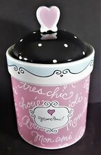 """MON AMI COOKIE JAR BARREL CANNISTER WITH HEART LID 8 1/4"""" TALL - NEW OTHER -"""