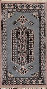 Vintage Geometric Bokhara Oriental Area Rug Hand-knotted Wool Kitchen Carpet 1x2