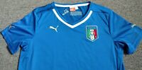 Puma Men's Soccer Jersey US Size M Blue Logo Italian National Embroidered