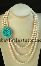 "wholesale 3rows freshwater pearl near round 8-9mm necklace 17-20""  beads gift"