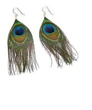 Fashion Hanging Peacock Feather Earring  Jewellery Drop Hang Ear