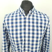 Fred Perry Mens Shirt LARGE Long Sleeve Blue Regular Fit Check Cotton