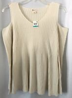 Style & Co. NWT Women's 2X Sweater Cold Shoulder Long Sleeves Ivory Ribbed Knit