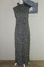 SHAPE FX NEWPORT NEWS Sz L Gray Black Sleeveless Long Turtleneck Sweater Dress