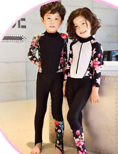Kids Swimsuit Boys Girls Long Sleeve Surfing Swimming Floral Diving Suit 2019