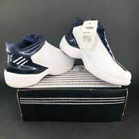 Vintage Adidas Acquisition K Mens 6 Mid Top Basketball Shoes White Blue Vintage
