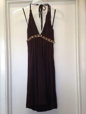 SKY BRAND Brown V Neck Halter Dress Gold Chain Leather Trim Sz M Medium VGUC