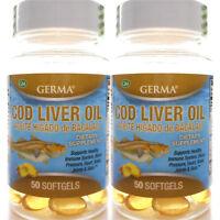 2 Pack Germa Cod Liver Oil Omega-3 Heart Brain Joint Aceite de Higado de Bacalao