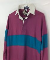 Vintage NEW Deadstock Woolwich Mens Rugby Shirt Purple Blue Long Sleeve