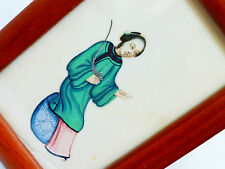 Antique Chinese Rice Paper Lady Painting In Frame, 19c