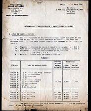 """Concessionnaire AUTOMOBILE CITROEN / MOTEURS """"CIRCULAIRE N°2.980"""" Tarifs en 1947"""