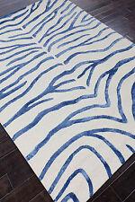 Rug USA Zebra 5' x 8' White/Blue Handmade Tufted Woolen Area Rug & Carpet