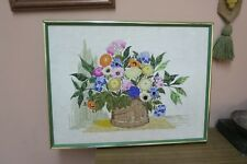 "Vintage Finished Floral Basket Crewel Embroidery 17"" x 23"" - 19"" x 25"" Framed"