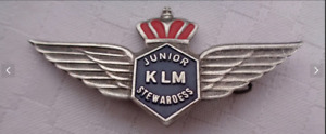 Vtge 60s KLM Netherlands Airlines Stewardess Junior Metal Wings uniform badge