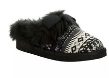 NEW Rocket Dog Barstowim Black Snow Cone Faux-Fur Slippers Shoes Black sz 7
