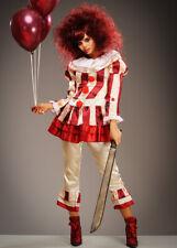Womens Halloween Red Striped Killer Clown Costume