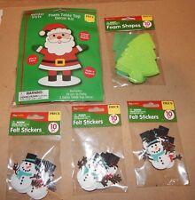 Christmas Foam Table Top Kit & 3 pks Felt Stickers Santa & 10 Tree Shapes 152Y