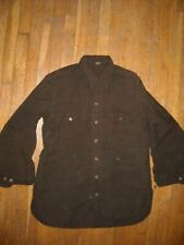 VTG 40S WWII MEN 15 ARMY MILITARY GREEN BROWN WOOL MILITARY BUTTON DRESS SHIRT