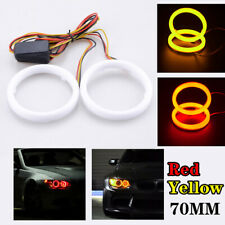 Pair 70MM COB Car LED Angel Eyes Halo Ring Fog Lamp Light Signal Red Turn Amber