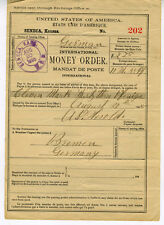 1895 International Money Order Receipt Seneca Kansas to Bremen Germany