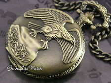 American Eagle Outstretched Wing Pocket Watch Bronzed Gift Box WTP2002B