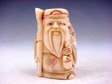 Japanese Detailed Hand Carved Netsuke Sculpture Old Man Cane Bag #01131801