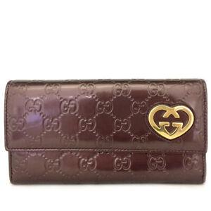 GUCCI Shima GG Logo Patent Leather Long Bifold Wallet /C0910