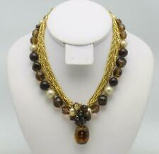 Vintage Signed DEMARIO 5 Strand Choker Necklace Crystal, Pearl Amber Drop