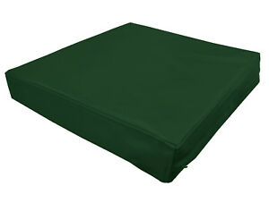 pe209t Green Faux Leather Classic Pattern 3D Box Seat Cushion Cover Custom Size