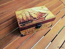 Wooden Pirate ship memory box,Vintage style box,World map keepsake box,Jewelry