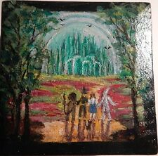 Original Art Painting-Miniature Wood Box,Wizard Oz, Emerald City, Ruby Slippers,