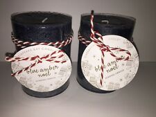 """CHESAPEAKE BAY CANDLE Set of 2 3"""" x 4""""Pillar Scented Candles""""BLUE AMBER NOEL""""NWT"""