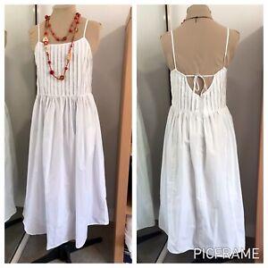 URBAN OUTFITTERS sz M White Cotton DRESS Boho FRONT TUCKS Midi BNWT Cottagecore
