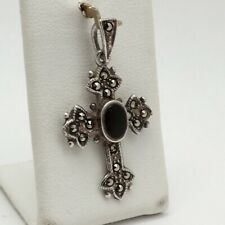 Sterling Silver Onyx Marcasite Budded Cross Charm Pendant