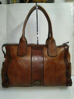 Fossil Vintage Reissue Whisky Brown Leather Large Satchel Shoulder Bag Purse