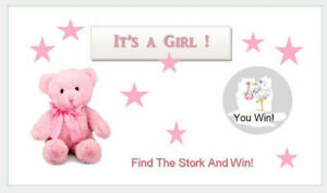 10  Baby Shower Games Scratch Off tickets Cute Pink Teddy Bear