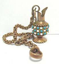 VICTORIAN GOLD FILLED ENAMEL PITCHER FOB PENDANT AND WATCH CHAIN 6.5 GRAMS