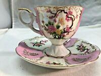 "Vintage Royal Halsley, Lipper & Mann Opalescent ""Oriental Tree"" Teacup & Saucer"