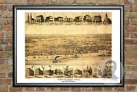 Old Map of Tell City, IN from 1870 - Vintage Indiana Art, Historic Decor