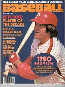 Baseball Magazine April 1980 Feat. Pete Rose, Philadelphia Phillies,1980 Preview