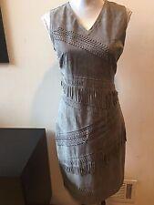 NEW Elie Tahari Gray Blythe Suede Fringe Sleeveless Dress Size 6 $1398