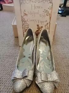 Harrods Disney Cinderella heels size 5 Silver glitter/sparkly Wedding