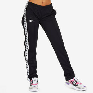 Kappa Black & White 222 Banda Wastoria Snap Press Stud Side Trousers