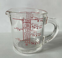 VINTAGE PYREX # 508 1 CUP MEASURING CUP 8 OZ CLEAR GLASS RED LETTERING D HANDLE